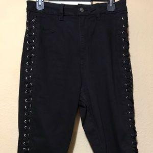 Black AP Blue, Aphrodite jean, lace up side shorts